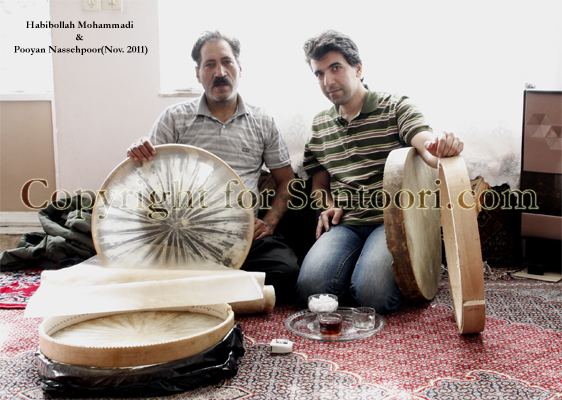 Santoori.com manager Pooyan Nassehpoor and Habibollah Mohammad the legendary Daf maker from Kurdistan