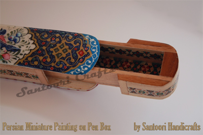 Persian Handicraft Pen Box - Lacquered Pen Case - Qalamdan